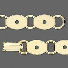 4729FD Bracelet Base Blank Gold plated Steel 10 Oval Links 13x10mm  7.5 in Qty 1