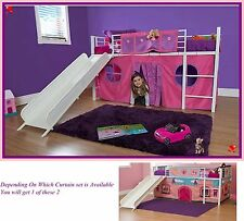 Girls Twin Loft Bed With Slide White Bunk Pink Playhouse Curtains Kids Furniture