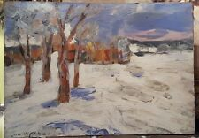 20th.Century Impressionist Oil Winter Landscape Painting Signed European