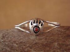Native American Navajo Indian Sterling Silver Coral Bear Paw Baby Bracelet!