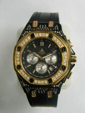 Techno JPM 968  Gold and Black Rubber Watch with Diamond Bezel