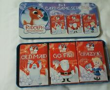 Rudolph The Red Nose Reindeer Card Game Set Old Maid Go Fish Crazy 8s in tin
