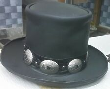 Handmade Genuine Black Leather Hat GUNS N ROSES SLASH Western Style Mens Top Hat