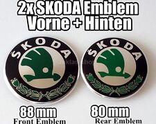 SKODA 2x Vorne + Hinten EMBLEM 90mm + 80mm fur FABIA OCTAVIA SUPERB-ROOMSTER