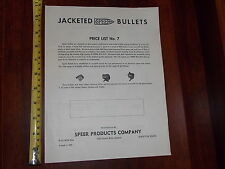 RARE OLD VINTAGE JACKETED SPEER BULLETS PRICE LIST #7 1950 LEWISTON IDAHO