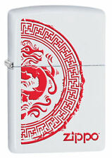 Zippo 28855, Dragon Seal, White Matte Finish Lighter, Full Size