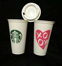Starbucks Reusable Heart Plastic Mug USA Siren Mermaid Valentines Day UK Post