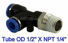 "5pcs Pneumatic Run Tee Fitting Tube OD 1/2"" X NPT 1/4"" Push In Air Connector"