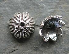 2 Bali Sterling Silver Ornate Leaf Bead Caps 9mm x 5mm Traditionally Handcrafted