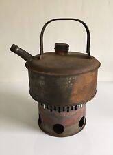 Old Vintage Rusty Kettle with Stove Travel Field Car Supply Kitchenalia
