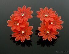 Softplastik rote Blüten Ohrclips Ohrringe, Soft plastic red flower Earrings,rare