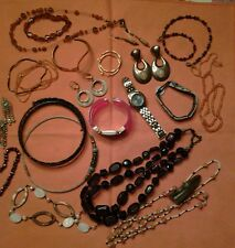 Vintage lot of old costume Jewelry Watches Earrings Necklaces Beads Bracelets