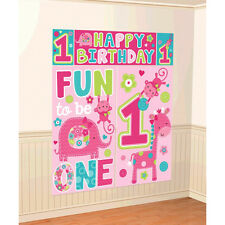Wild Fun To Be One Pink Girl's 1st Birthday Party Scene Setter Decorating Kit