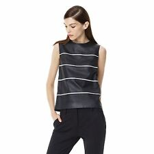 $655 Theory Emlay Magazine Striped Leather Tank Top in Black/white Medium NWT