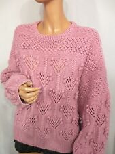 VINTAGE CHUNKY PINK WOOL HAND KNIT BOBBLE JUMPER OVERSIZE BAGGY SIZE:M/L