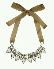 Asos mixed stones & triangles beads ribbon necklace gold beige RRP £ 35