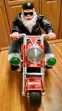 Battery Operated Christmas Biker Santa On Motorcycle, Born To be Wild, Works!