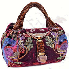 Authentic FENDI Limited Edition Bordeaux Velvet Embroidered Squirrel Spy Bag