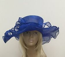 New Large Royal Blue Sinamay Swirl Hat Mother Of The Bride Weddings Ascot Races