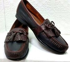 JOHNSTON & MURPHY Black Brown Leather Tassel Loafer Shoe Mens 9.5