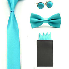 Solid Color Men Bowtie Slim Neck Tie 4 Point Hanky Pocket Square Cufflinks Set