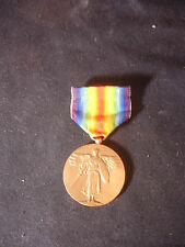 Old Vtg C1918 US WW1 Victory Medal Military Great War For Civilization Angel Pin