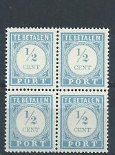 Netherlands 1912 Sc# J44 Postage due block 4 MNH