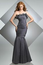 NWT Bari Jay 205 Charcoal TWO DRESSES IN ONE! Mermaid size 10 chiffon gown