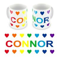 Personalised Printed Children's Kids Rainbow Hearts Any Name Mug Cup Gift Boxed