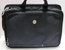 Black Dell Laptop Computer Canvas Carrying Case Multiple Compartments and Strap