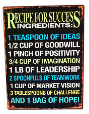 Recipe for Success Sign Metal Hanging Chic Shabby Distressed Effect Kitchen Sign