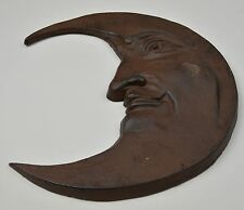 "Decorative Cast Iron Moon Face Wall Hanging 12"" Tall Celestial Home Decor Accent"