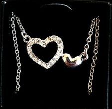Avon  Silver Tone CZ Crystal Heart Necklace
