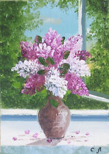 Original ACEO still life oil painting LILACS 2.5 x 3.5""