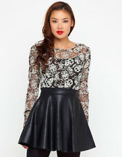 TOPSHOP LEATHER LACE DRESS