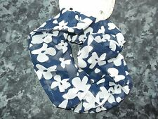 Floral hair scrunchie fabric elastic bobble flower band blue black white