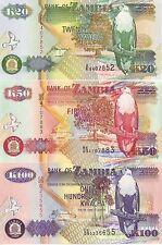 ZAMBIA 3 BANCONOTE UCCELLI 20 50 100 KWACHA UNC FDS BIRDS