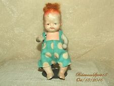 ANTIQUE 1930's JAPAN BABY BOY BISQUE DOUBLE JOINT RED HAIR 4.5'' MINIATURE DOLL