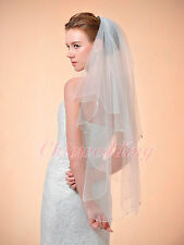 2 Layer Ivory Beaded Scalloped Edge Elbow Length Bridal Wedding Veil with Comb