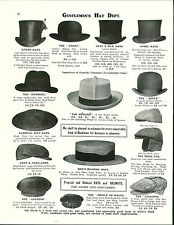 1913 ADVERTISEMENT Gentlemen's Top Hat Livery Neglige Dover Golf Opera Straw ++