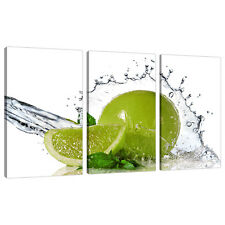 Set of 3 Lime Green Canvas Wall Art Prints Pictures Kitchen Diner 3057