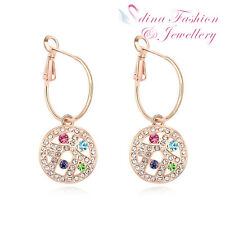 18K Rose Gold Plated Genuine Swarovski Crystals Multicoloured Moon Hoop Earrings