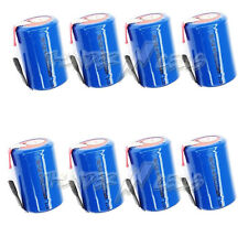 8 pcs NiCd 4/5 SubC Sub C 1.2V 1600mAh Rechargeable Battery with Tab Blue