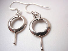 Slightly Convex Earrings 925 Sterling Silver Dangle Imported from India New
