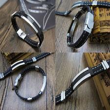 Cool Mann Armband aus Titan und Edelstahl geflochten PU Leder silber Armreif