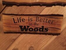 Laser Engraved Tree Log Slice Rustic Man Cave Room Sign Cherry Wood Decor Quote