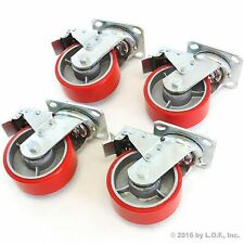 "4 Red Brake Wheel Caster 5"" Wheel All Swivel Heavy Duty Iron Hub No Mark Casters"