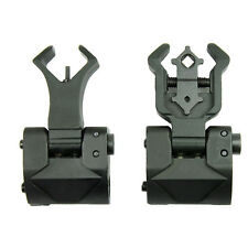 Premium Flip up Front Rear Iron Sight Set Dual Diamond Aperture BUIS FDE Black