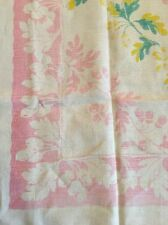 Vintage Linen Tablecloth Pink Acorn And Oak Leaf Pattern Unusual! 49 By 52