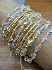 Chan Luu Bracelet Clear Crystal & Tiny Gold Nuggets 15 Strands  Leather NEW $295